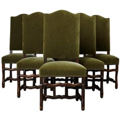 Set of Six French Louis XIV Style Os de Mouton Dining Chairs in Green Mohair