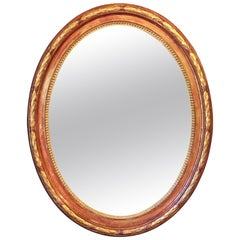 Large Louis Philippe Oval Framed Gilt Mirror (H 45 3/4 x W 36 3/4)