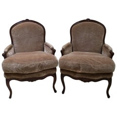 Pair of 18th Century French Walnut Bergere Chairs