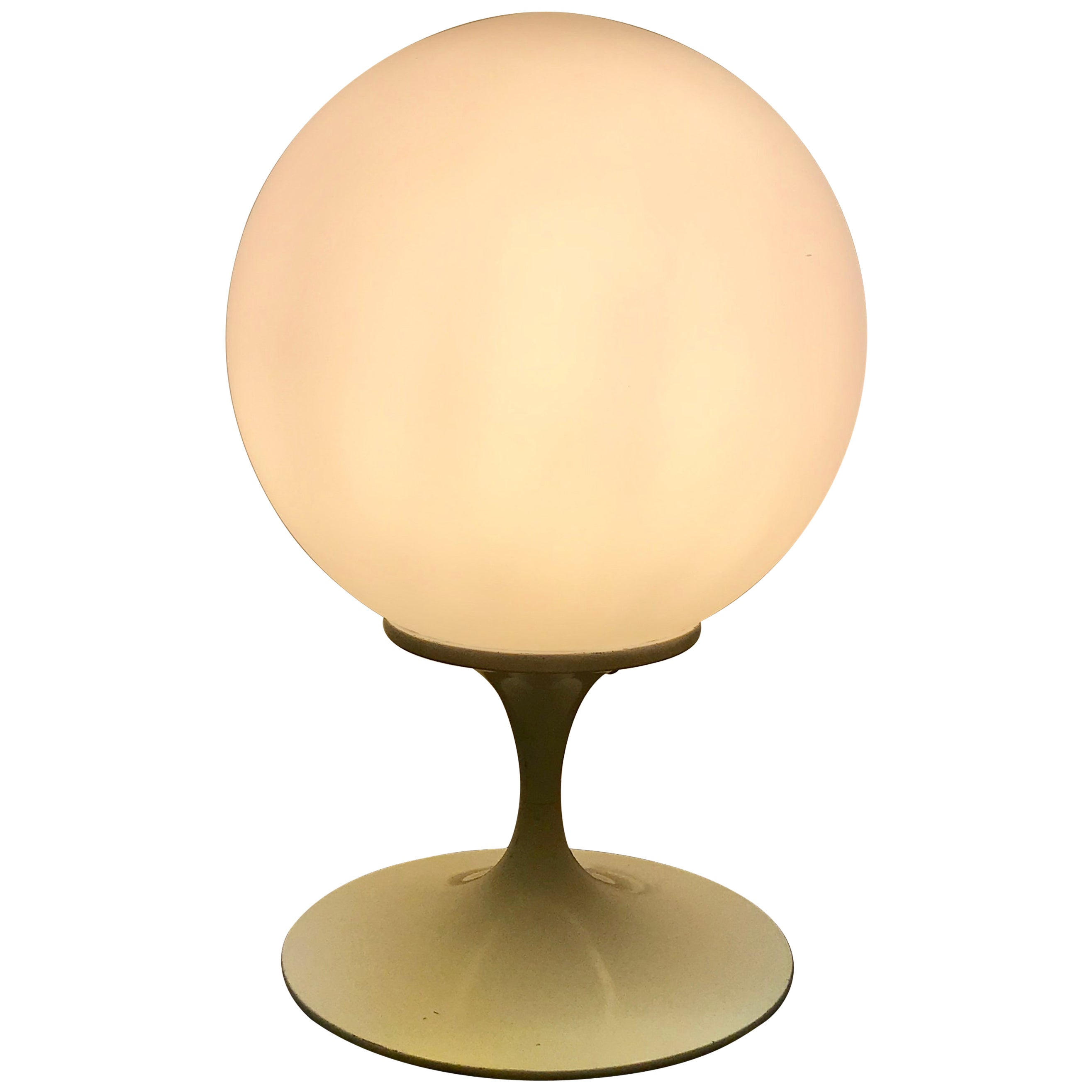 Mid-Century Modern White Tulip Base Table Lamp with White Round Globe by Laurel