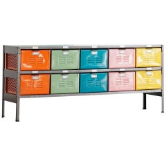 5 x 2 Vintage Locker Basket Unit, Refinished in Natural Steel and Multi-Colors
