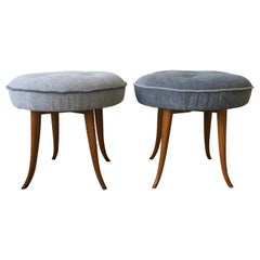 Pair of Austrian Blue Upholstered Stools in the Style of Josef Frank