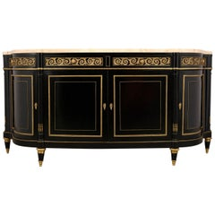 Elegant French 1990s Louis XVI-Style Buffet with Thick Marble Top