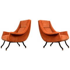 Pair of Modern 1960s Italian-Style Lounge Chairs Complete Restoration
