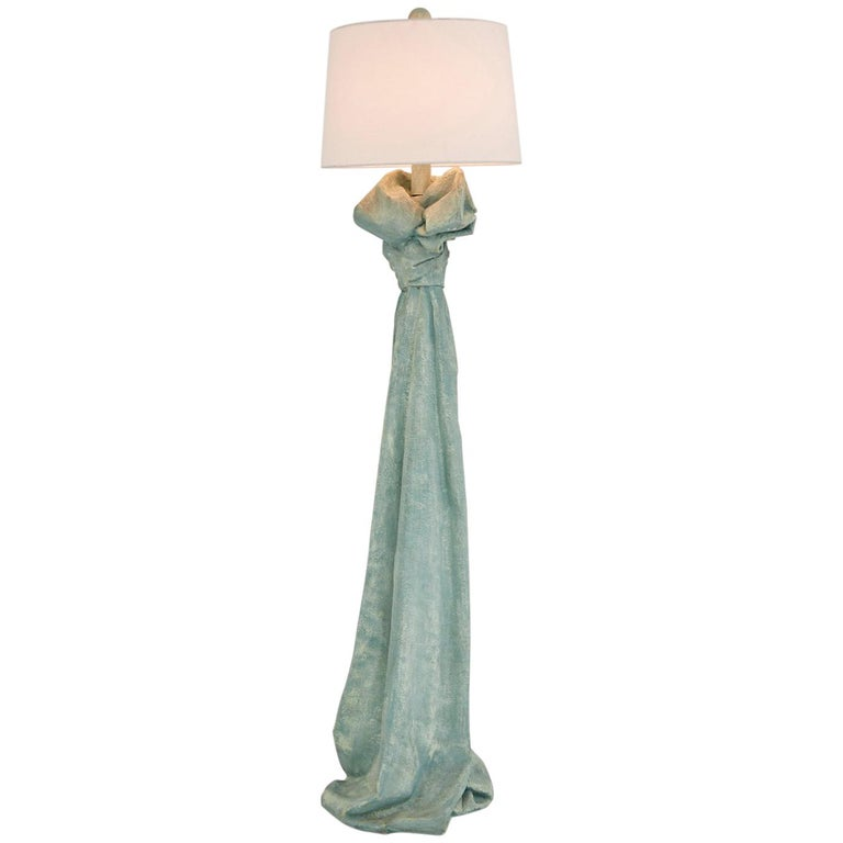 Faux Draped Fabric Floor Lamp in the Manner of John Dickinson, 1980s