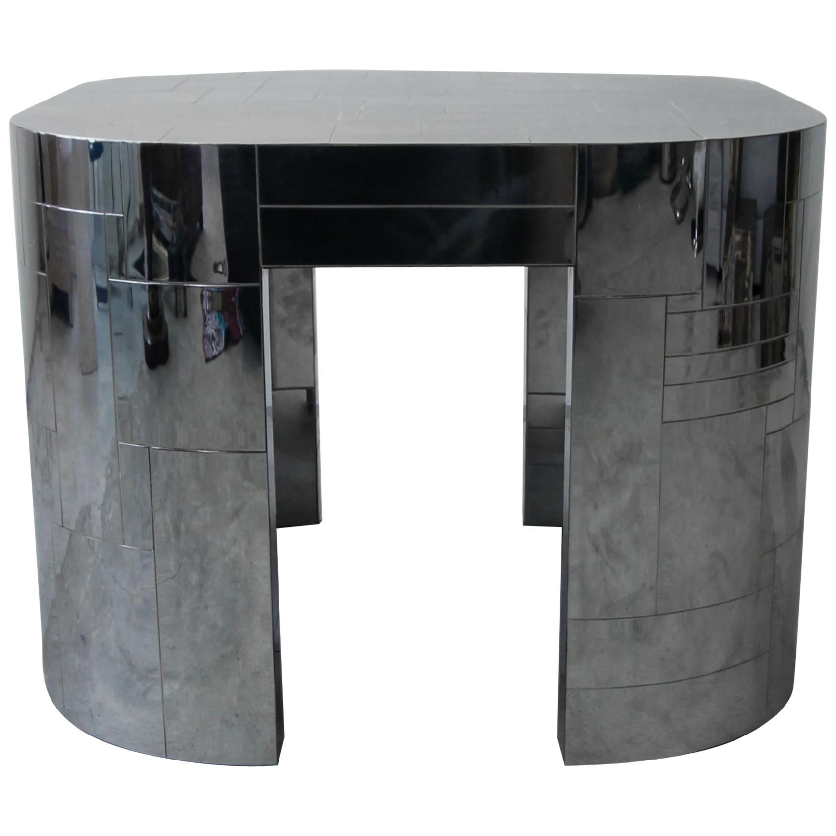Rare Chrome Patchwork Cityscape Table By Paul Evans