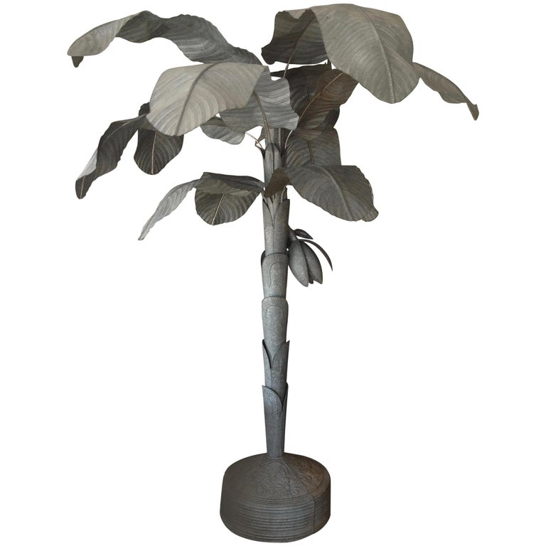 Magnificently Proportioned Tole Banana Tree For Sale