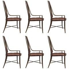 Mastercraft Brass Bamboo Imperial Dining Chairs, Italy