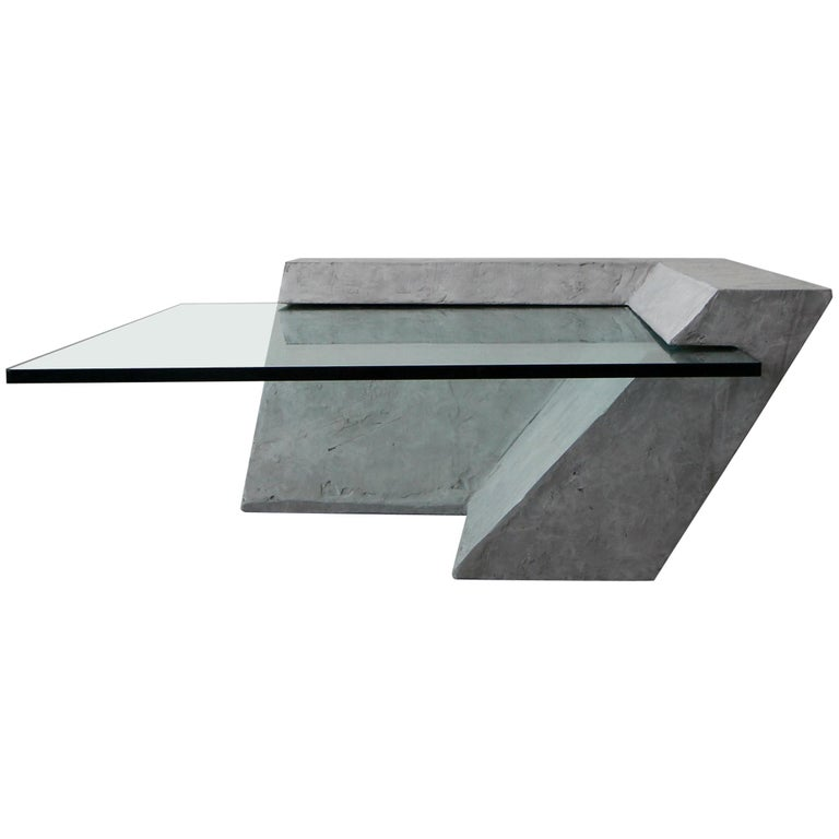 Cantilevered Faux Concrete Plaster And Glass Coffee Table For Sale - Concrete and glass coffee table