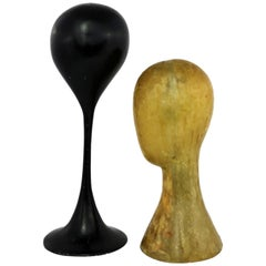 Pair Hat or Wig Display Head Stands Fiberglass Midcentury Modern Tulip Base