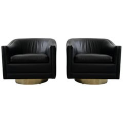 Pair of Midcentury Leather Swivel Chairs with Brass Bases by Harvey Probber