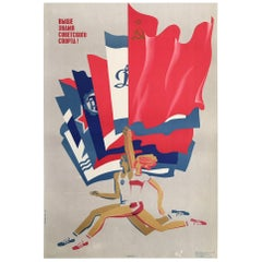 Original Vintage Poster, Olympic Runners, Munich Games, 1973 Sports Poster