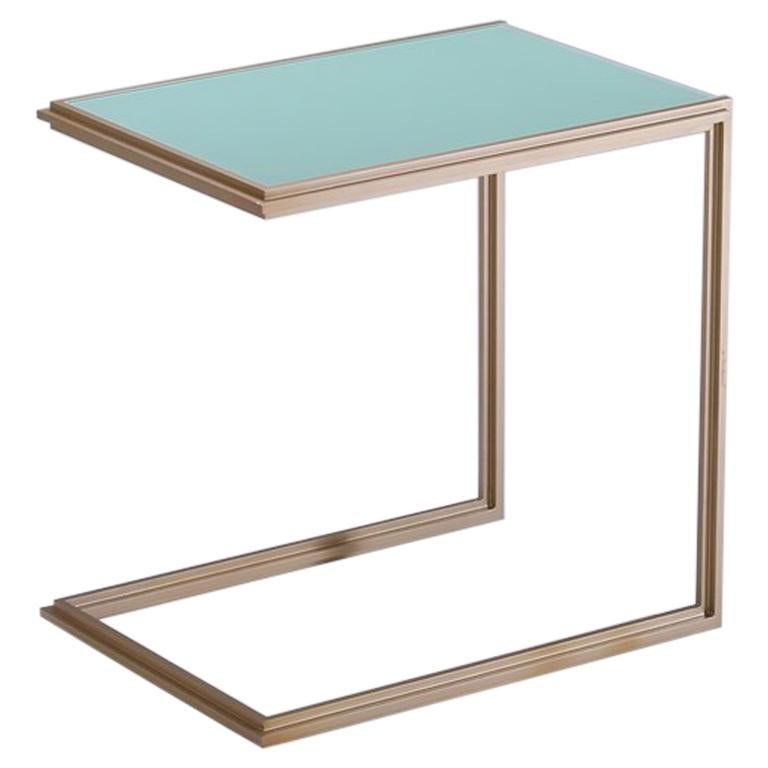 Glass and Natural Brass Occasional Handmade Table, by P. Tendercool