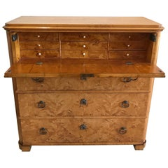 Flame Birch Biedermeier Secretaire Chest