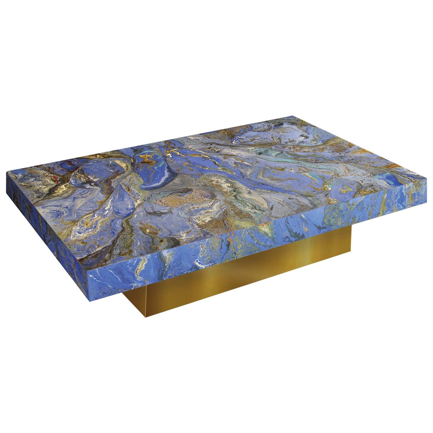 Cobalt  blue Coffee Table  Marbled Scagliola Decoration Gold Leaf Wooden Base