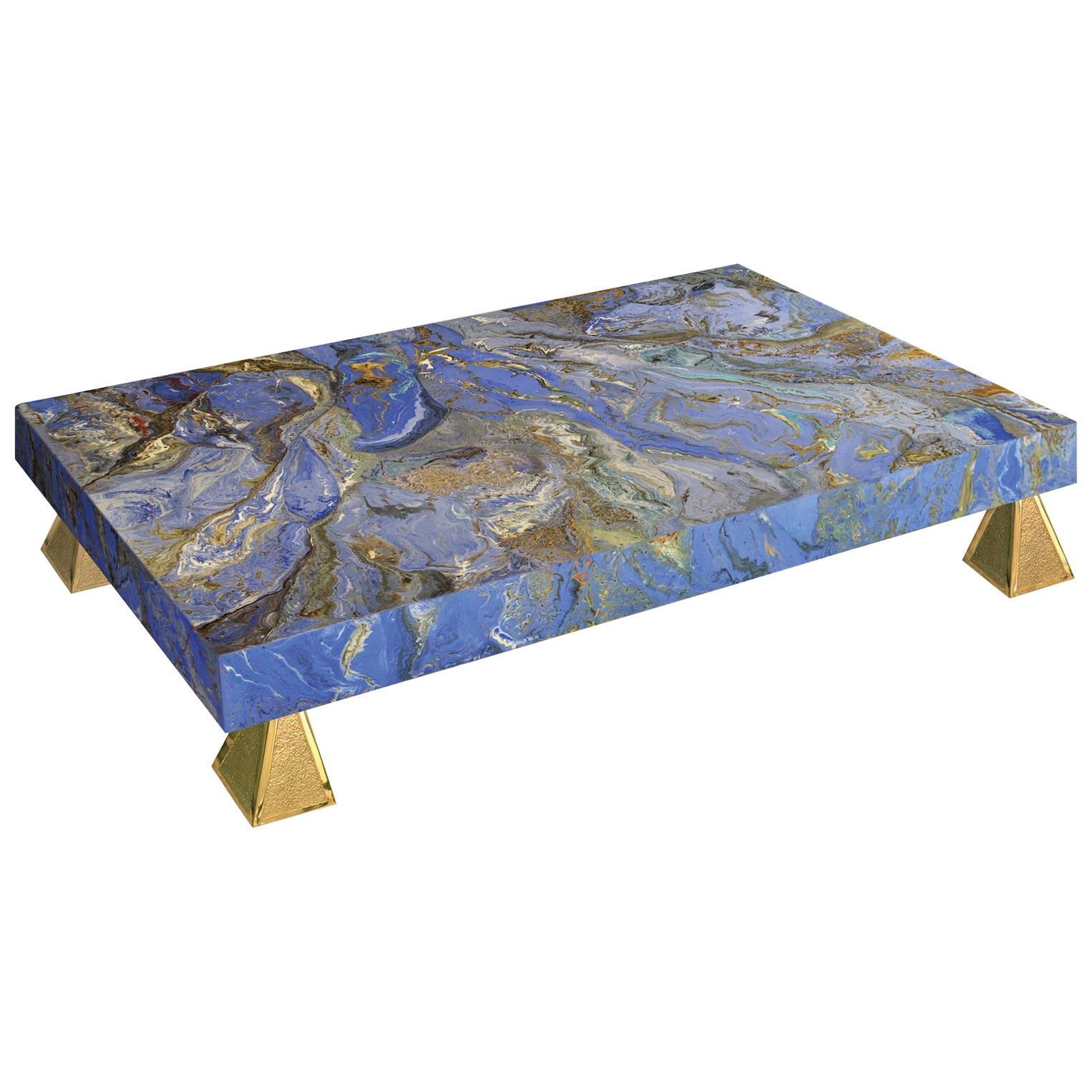 Modern Blue Coffee Table handmade marbled Scagliola decoration Casted Brass Feet