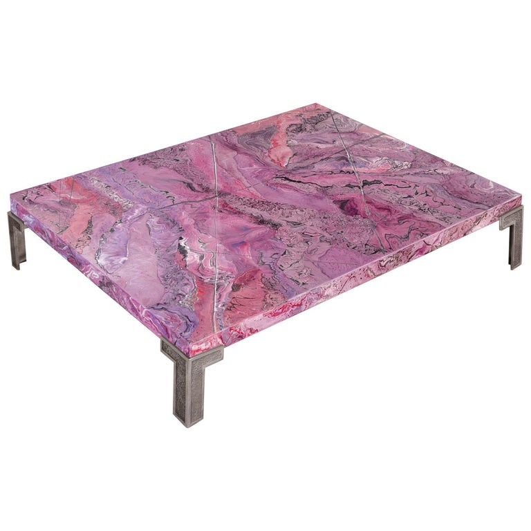 Ametista F Coffee Table Marbled Scagliola Decoration Texturized Metal Feet