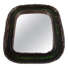 Irma Yourstone Ceramic Mirror, Hand-Painted, Sweden, 1960s