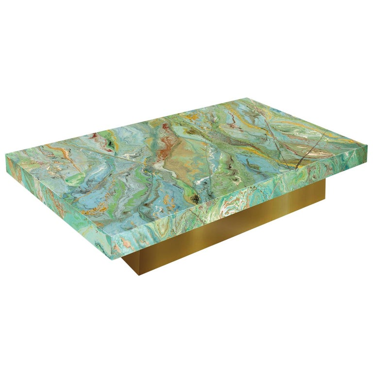 Aurora T Contemporary Coffee Table Marbled Green Top Gold Leaf Base