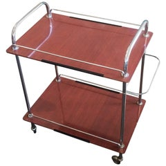 Midcentury French Brown Rolling Bar Cart Trolley