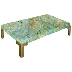 Aurora F Contemporary Coffee Table Marbled Green Top Casted Brass Feet