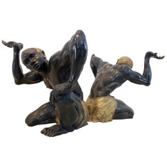 Rare Set of Large Bronze Blackamoor Table Bases, France, 1950s