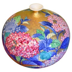 Gilded Japanese Hand-Painted Imari Porcelain Vase by Contemporary Master Artist