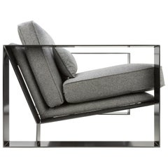 Modern Industrial Cronos I Armchair in Steel Powder Coated and Velvet