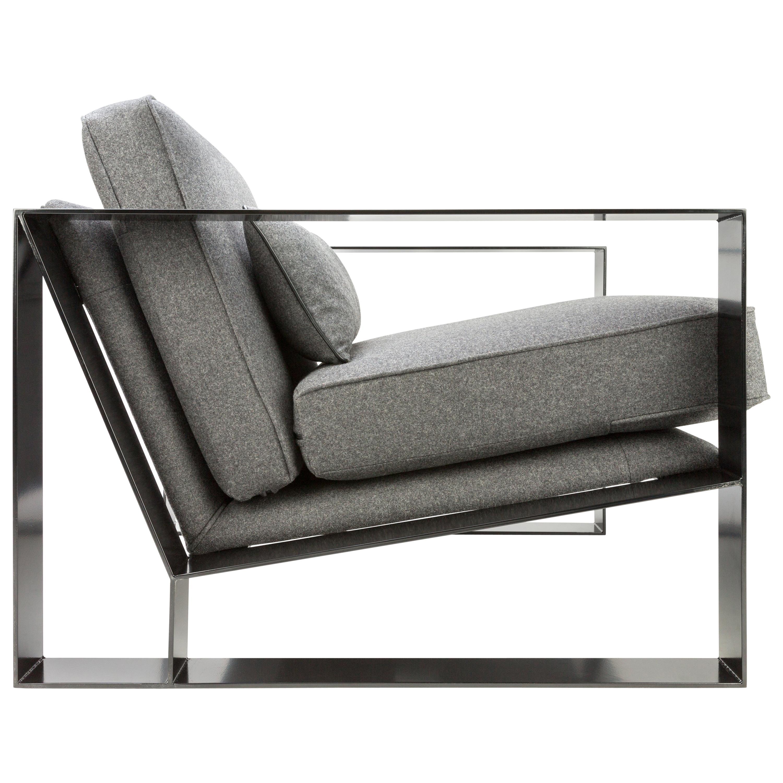 Lovely Modern Industrial Cronos I Armchair In Steel Powder Coated And Velvet