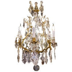 Late 18th Century, French Louis XV Style Ormolu and Cut Crystal Small Chandelier
