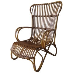 1920s Cane and Bamboo Lounge Chair