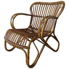 1920s Cane and Rattan Lounge Chair