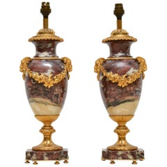 Pair of Antique French Marble and Gilt Bronze Table Lamps