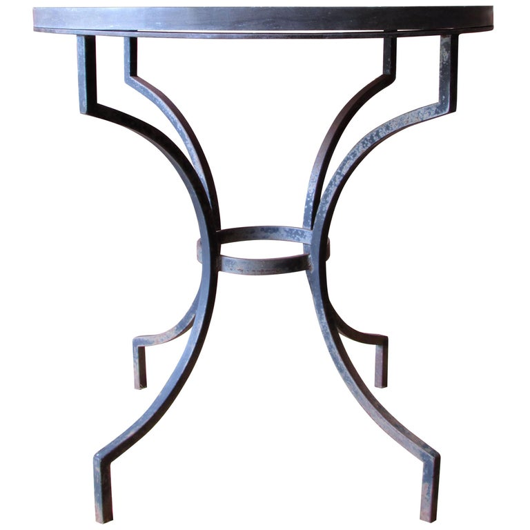 Wrought Iron and Slate Lamp Table For Sale