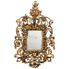 Rare 17th Century Carved Giltwood and Gesso Tuscan Mirror from Florence