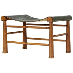 Mahogany and Leather Stool by Josef Frank