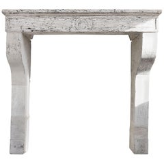 Antique Patinated Fireplace of French limestone in Campagnarde Style