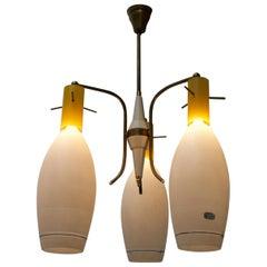 Midcentury Italian Pendant Light with Yellow and White Murano Glass Shades