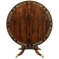 Early 19th Century Regency Period Rosewood Brass Inlaid Circular Breakfast Table