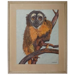 Marvelous Early to Mid-20th Century Owl Monkey Pointillism Drawing / Painting