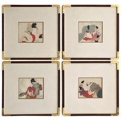 Set of Four-Framed Antique Japanese Shunga Paintings on Silk
