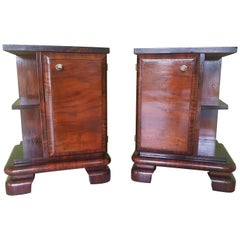 Pair of Walnut Art Deco Nightstands from Sweden, 1930s