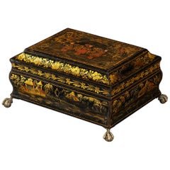 Early 19th Century Regency Period Japanned and Chinoiserie Lacquered Casket