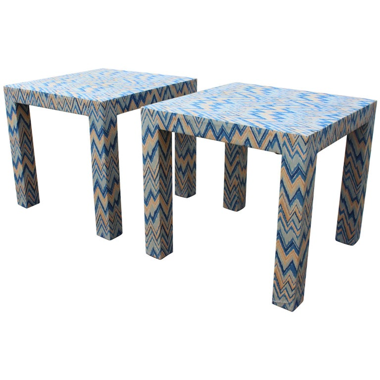 1980s Italian Pair of Upholstered Side Tables For Sale