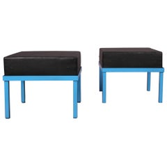 Pair of Stool Molesquine and Metal