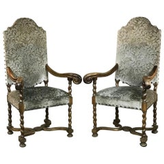 Pair of 19th Century French Antique Louis XIII Barley Twist Armchairs