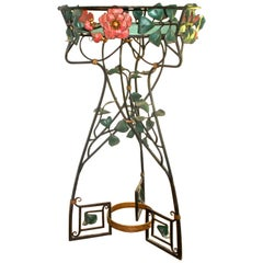 Art Nouveau Large Painted Wrought Iron Botanical Fantasy Ferneries Planter