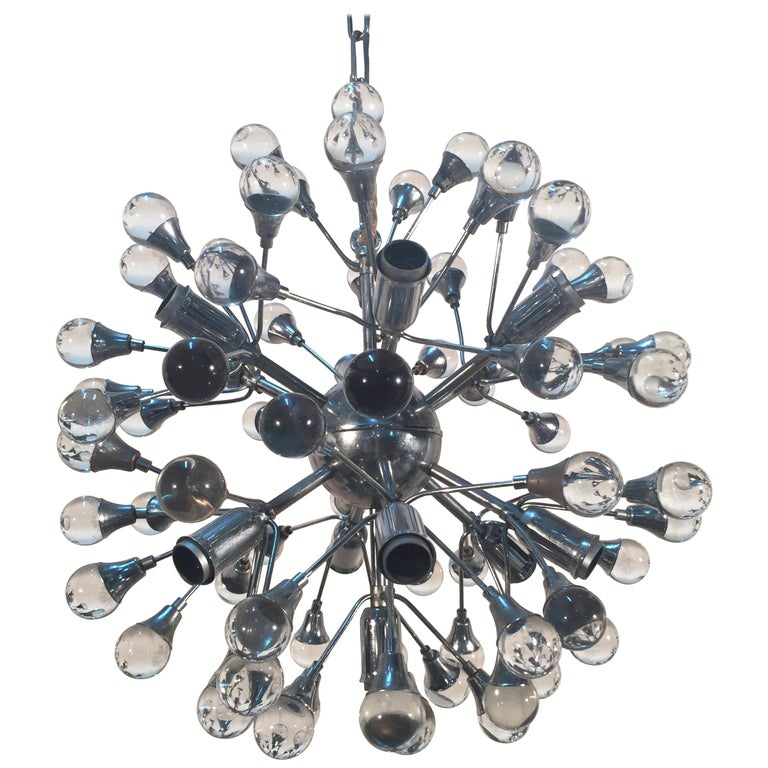 Italian Gaetano Sciolari Sputnik Glass and Chrome Chandelier, 1960s