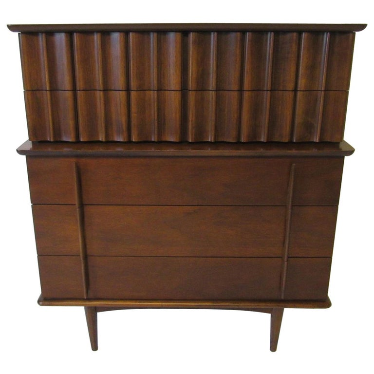 Sculptural Midcentury Tall Chest on Chest Dresser