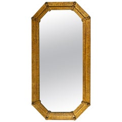 Fabulous Hammered Gilded Iron Mirror by Ferro Art, Spain, 1950s